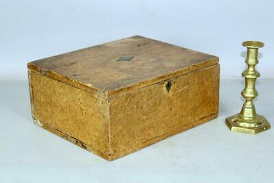 A Rare Pa 19Th C Document Box Painted Decorated To Imitate Birdseye Maple