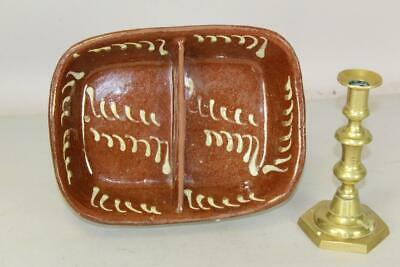 A Very Fine Early 19Th C Divided Redware Loaf Pan With Yellow Slip Decoration