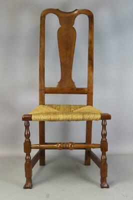 One Of A Pair 18Th C Ct Queen Anne Chair With Carved Spanish Feet In Cherry  1