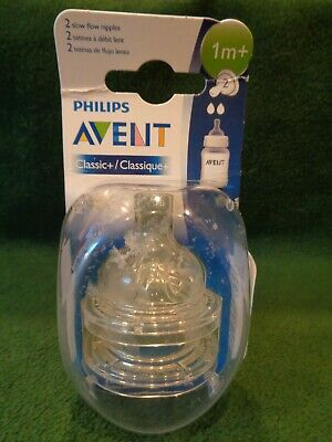 Philips AVENT BPA Classic+ Nipple 2-pack Size 1M+ New Design