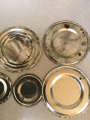 "VTG Lot of 14 Steel 6"" Coffee Can Lids Tin Tops Metal Art Kitchen Craft Supply"