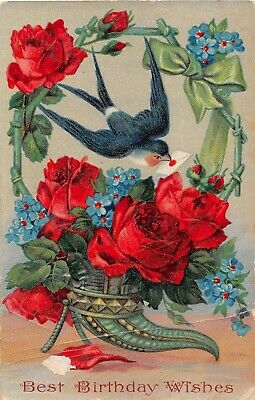 1909 Gelatin Birthday PC-Swallow by Basket With Gorgeous Roses & Forget-Me-Nots