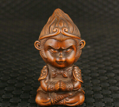 Blessing chinese old boxwood hand carved buddha figure statue netsuke noble gift