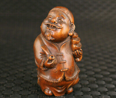chinese old boxwood hand carved landlord fortune figure statue hand piece