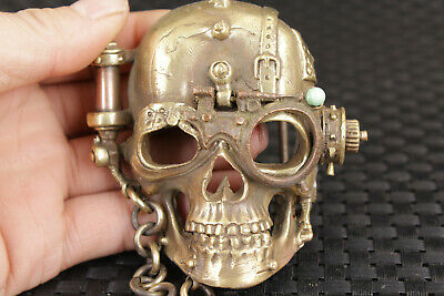 Cool chinese old bronze hand carved skull man Belt buckle Noble gift
