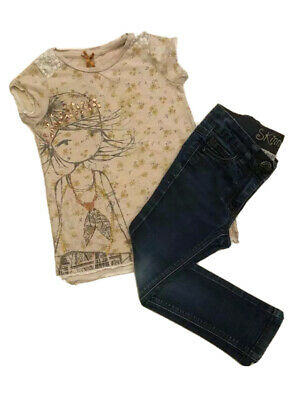 Girls clothes 4 years Next outfit set Skinny jeans and tshirt summer outfit