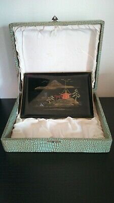 Vintage Japanese Lacquer Sake Tray Boxed Signed Asian Gift