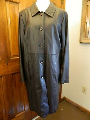 Bradley Bayou Brown Leather Coat Long Trench Button Front Zip Out Lining Size XL