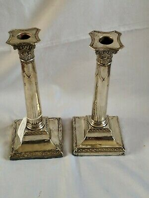 Antiques Victorian Sterling Silver Weighted Corinthian Column Candlestick 23.5Cm