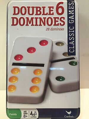 Classic Games Double Six Dominoes 28 Pc. Sealed Cardinal Collectible Tin