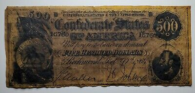 1864 $500 Dollar Bill Confederate States of America Note T-64 Stonewall Jackson