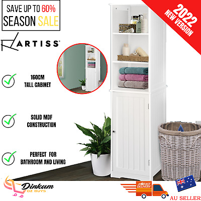 Bathroom Cabinet Tallboy Storage White Cupboard Pantry Laundry Toilet Furniture
