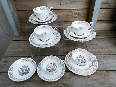 Vintage Indian Tree Warranted 22kt Gold Fine English 15 Piece China Tea Set
