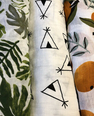 SALE 3 New Leaf, Clementine & Teepee Print Muslin Swaddle 100% Organic Cotton