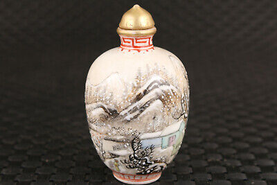 chinese  old porcelain hand painting landscape snow love snuff bottle