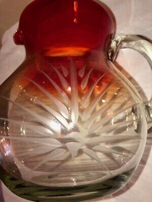 Vintage Hand Blown Ruby Red & Clear Glass With Etched Sunburst Design Pitcher