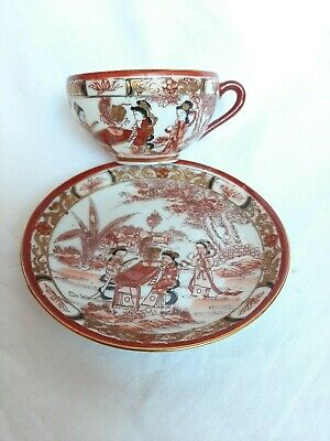 Antique Chinese Coffe Couple ,Very Thin Porcelain With Geisha A Portrait.