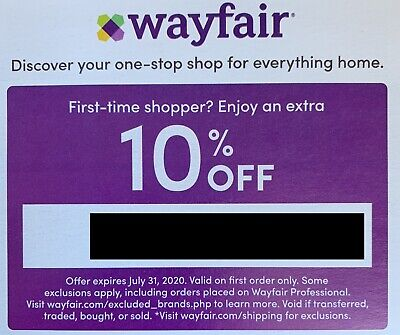 New WAYFAIR 10% COUPON OFF 1ST ORDER EXP 6/30/20 Deliver Fast; Read Restrictions