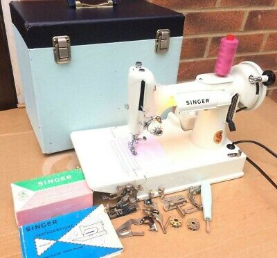 "Vintage White Singer 221K Featherweight Sewing Machine"" with attachments& Manual"