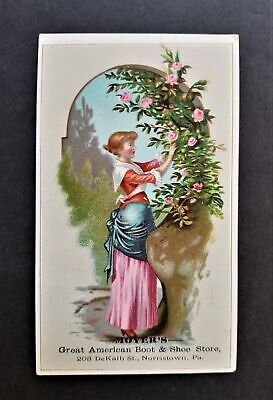 1880 antique MOYER'S norristown pa BOOTS SHOES STORE victorian trade card AD ART