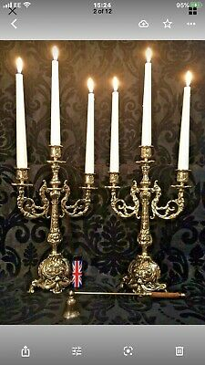 """Antique English Solid Brass Candelabras Candle Holders Candlesticks 14 1/8"""""""
