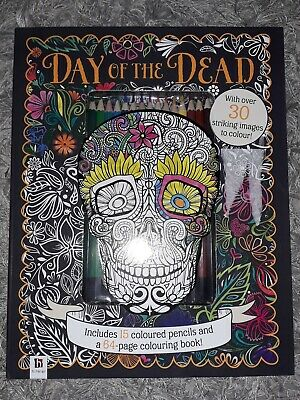 Brand New Colouring Book ( Day Of The Dead) With Pencils..skulls/skeleton Art...