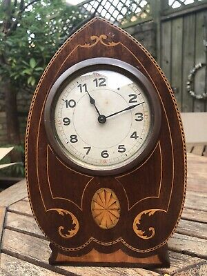 Edwardian Art Deco Lancet Top Wood Marquetry Inlaid Mantle Table Clock - Running