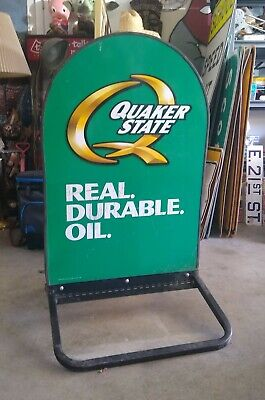 Vintage 2 Double Sided Metal Tombstone Quaker State Motor Oil Sign on Stand GAS