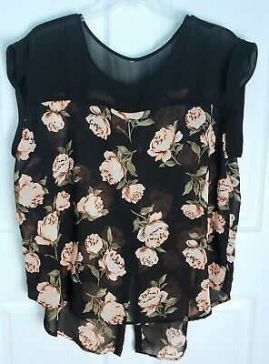 Live 4 Truth 2X Womens Plus Size Floral Blouse Shirt Top Semi Sheer Black