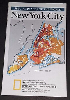 National Geographic Society WALL Map New York City September, 1990 NYC USA FREE