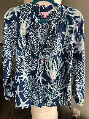 Lilly Pulitzer Elsa silk top blouse With Amazing Sealife Print. Size XS.