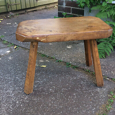 Antique Vintage Reclaimed Oak Milking Stool Low Side Table Country Home Kitchen