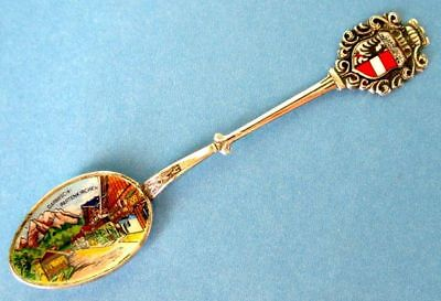 Enamel Spoon, GARMISH-PARTENKIRCHEN Germany 800 Silver Colorful Landscape Enamel