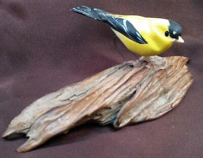Old Vintage Hand Carved Wood Wooden Nautical Yellow Bird Carving Art Sculpture
