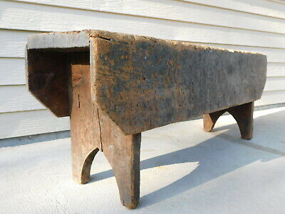 Primitive Strong Heavy Oak & Pine Worn Country Bucket Bench 48x13x18