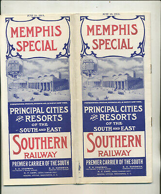 1914 Memphis Special Southern Railway Timetable Route Map