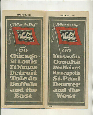 1920 Wabash Railway Company Timetable&  Route Map