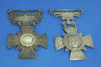 Two Large Victorian Sottish Oddfellow Medals 1886, 1892. St. Lawrence Lodge.