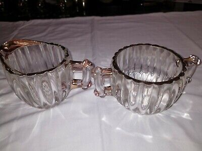 """Vintage Clear Glass Gold Trim Ribbed Bubble Knobby Creamer 3 1/4"""" Sugar Bowl 2"""""""