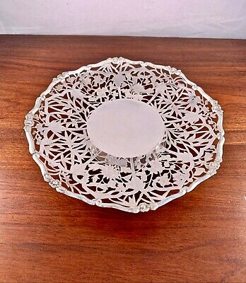 """Superb Yeching Chinese Export Solid Silver Footed Tray - Pierced Decoration 10"""""""