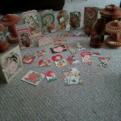 Antique Lot of 30 Valentine's Day Cards Die Cuts,Mechanical Honeycombs 1920's