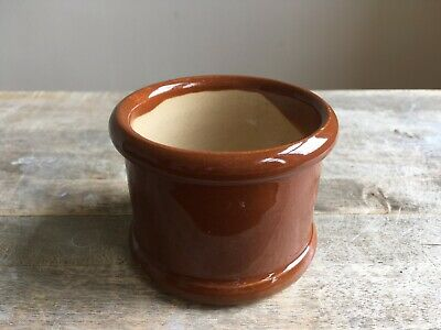 Antique Brown Caviar Stoneware Pot Farmhouse Barn Salvage Patina