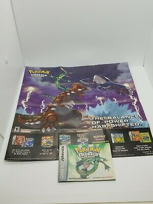 Pokemon Emerald Poster & Game Manual Only For Gameboy Advance Extremely Rare!
