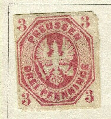 GERMANY; PRUSSIA 1861 early classic rouletted issue fine used 3pf value