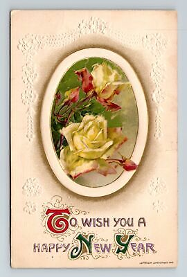 Winsch~To Wish You a Happy New Year~White Roses~Postcard