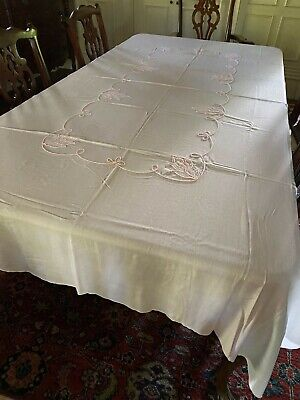 Pale Pink and White Vintage Linen Embroidered Tablecloth 92 x 60