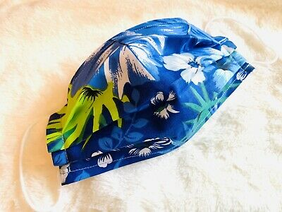 Blue Face Mask Washable Cotton Fabric Double Layer Filter Reusable W/Nose Wire