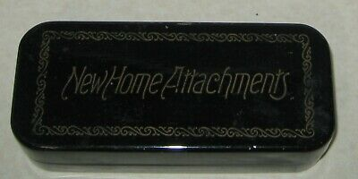 Vintage NEW HOME/ GREIST sewing machine attachments in original metal box - 9 pc