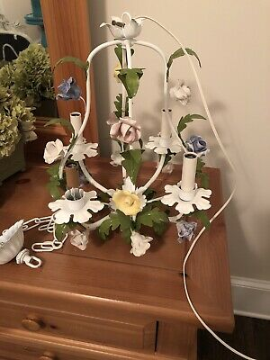 CHANDELIER 4 ARM Italian Pastel Tole Colored Roses Vintage   - Shabby Chic