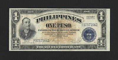 PHILIPPINES 1 Peso 1949, Central Bank Thick Lettering, P-117a, Crisp AU, Mabini